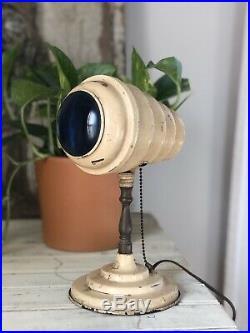 Antique Vtg 1930s Art Deco Blue Lens Bullet Light Table Lamp Ball Joint Early Ok