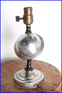 Antique Vtg 1930s Art Deco Space Planet Chrome Airstream Table Lamp Light Old