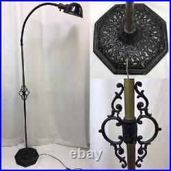 Antique Vtg Art Deco Industrial Gooseneck Floor Lamp Machine Age Black Adjustabl