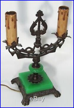 Antique Vtg Art Deco Jadeite Glass Candelabra Desk Table Lamp