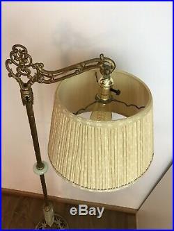 Antique Vtg Art Deco Nouveau Bridge Floor Lamp Uranium Vaseline Glass Slag Gold