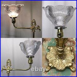 Antique Vtg Art Deco Nouveau Victorian Torchiere Floor Lamp Brass & Glass Ornate