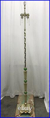Antique Vtg Art Deco Victorian Floor Lamp Brass Vaseline Glass Houze, Akro Agate
