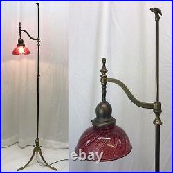 Antique Vtg Brass Arts & Crafts Deco Empire Floor Bridge Lamp Piano Adjustable