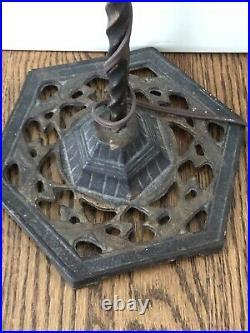 Antique Vtg Bridge Floor Lamp Wrought Iron Brass Art Deco Industrial