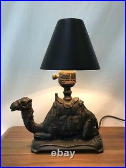 Antique Vtg Cast Iron Camel Lamp 1920s Art Deco Egyptian Moroccan Small, Bedside