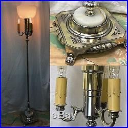Antique Vtg Floor Lamp Art Deco Torchiere 3 Arm Candlestick Onyx Gold Silver
