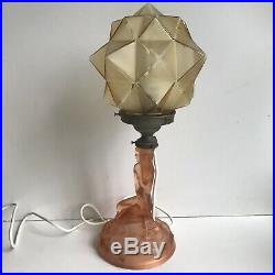 Antique Walther Sohne Rotterdam Table Lamp Art Deco Amber Peach BARGAIN PRICE