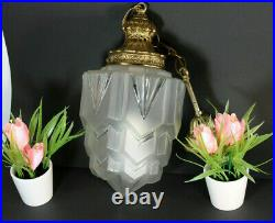 Antique art deco skyscraper frosted glass lantern chandelier pendant lamp
