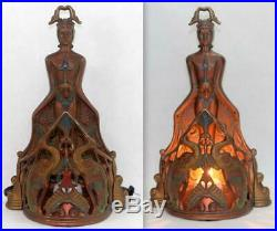 Antique c1920's Art Deco A. W. Reiser Lamp Light Egyptian Nude Woman Frankart Era