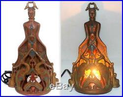 Antique c. 1920 Art Deco A. W. Reiser Lamp Light Egyptian Nude Woman Frankart Era