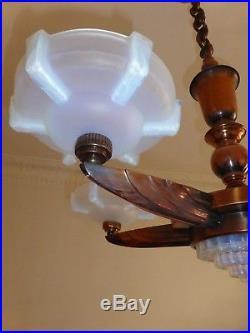 Antique french chandelier lamp EZAN PETITOT art deco nouveau shades opalescent