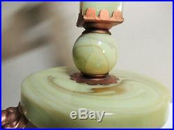 Antique vtg 1930s Art Deco HOUZE Green Vaseline/Uranium Slag Glass Table LAMP