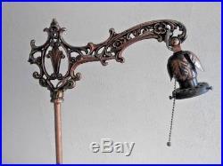 Antq ART DECO cast iron FLOOR bridge LAMP 1930s