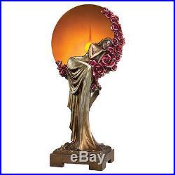 Art Deco 1920s Style Slumbering Lady Lamp Amber Illuminated Sculpture