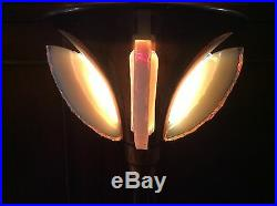 Art Deco 1930 Modernist Coppered Brass Opalescent French Table Lamp Light