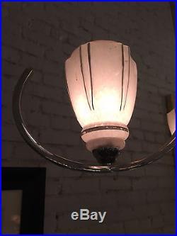 Art Deco 1930's Chandelier Hanging Lamp Chrome