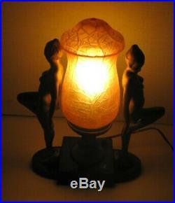 Art Deco 1930's Lamp Double Women Nudes Glass Shade Frankart Era