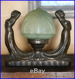 Art Deco 1930's Lamp Double Women Nudes Green Glass Shade Frankart Era