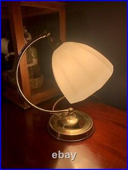 Art Deco 1930s Style Swan Neck Table Lamp Patina brass & Original Glass Shade