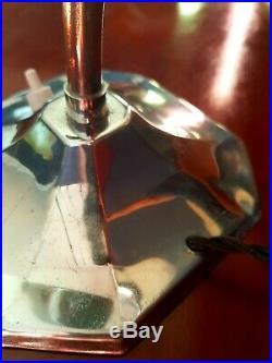 Art Deco 1930s Swan Neck Table/Desk Lamp Patina Chrome Period Glass Shade