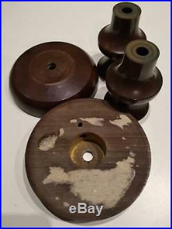 Art Deco Amber Bakelite Catalin lamp components block Marble brown Rod 730g