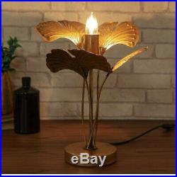 Art Deco Antique Gold Palm Tree Table Lamp Metal Light 47.5cm