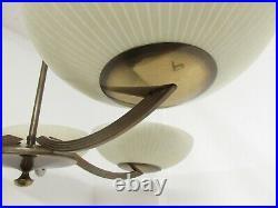 Art Deco / Bauhaus Deckenleuchte, 5-flg. Um 1930/40, Messing & Glas, Lampe, WMF