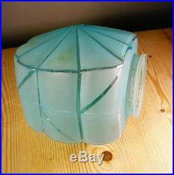Art Deco Blue Glass Lamp Shade