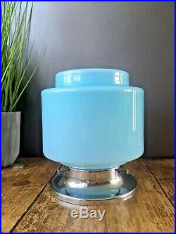 Art Deco Blue Opaline Glass & Chrome Odeon Stepped Ceiling Light Wall Lamp Shade
