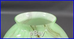 Art Deco Bohemian Czech Loetz Green Cased Glass Lamp Shade Globe Smoke Gray Slag