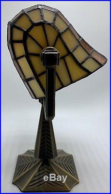 Art Deco Bradley Hubbard Style SLAG Stained GLASS Tea Light Lamp Lead Craftsmen