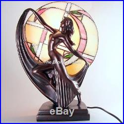 Art Deco Bronze Dancing Lady Lamp with Tiffany Shade