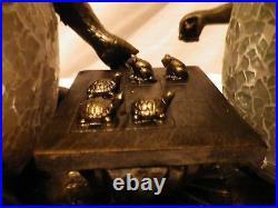 Art Deco Bronze Frog & Tortoise Lamp. Tiffany Crackle Glass Table Side Light. New