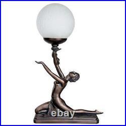 Art Deco Bronze Lighting Nora Kneeling Table Lamp Figure