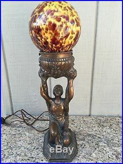 Art Deco Bronze Metal Figural Lamp/kneeling Maiden Holding Up Globe
