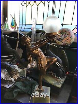 Art Deco Carlier Lamp Lady Frankart Shade Brazillian Green Onyx Base