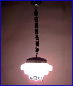 Art Deco Chandelier French Lamp 30s Bauhaus Hanging Pink Opaline Glass Geometric