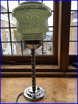 Art Deco Chrome Barley Twist Lamp With Original Glass Shade