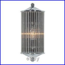 Art Deco Chrome Fluted Column Glass Rods Pilar Cinema Wall Light Sconce Lamp