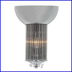 Art Deco Chrome Fluted Glass Rods Pilar Cinema Wall Light Sconce Lamp Uplight