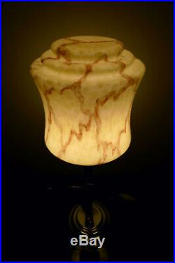Art Deco Chrome Lady Lamp Diana Bakelite Antique 1930s Marbled Shade