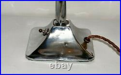 Art Deco Chrome Twisted Stem Table Lamp with Authentic Deco Glass Shade
