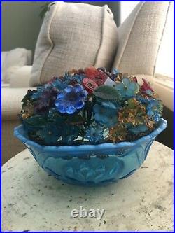 Art Deco Czech Bohemian Crystal Beaded Glass Flower Bowl Table Lamp Shade