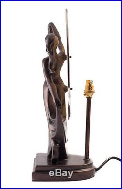 Art Deco Dancer Bronze Resin Lady Figure Lamp Glass Tiffany