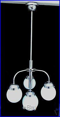 Art Deco Decken-Lampe 1930 Chrom blaue Glas-Schirme pendant lamp Bauhaus era