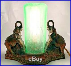 Art Deco Double Lucky Trunk Up Elephants Radio, Room Lamp