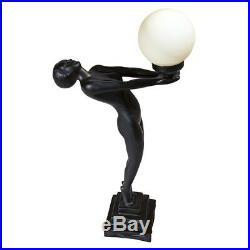 Art Deco Ebony Nude Female Offering Light Lamp Illuminated Globe Sculpture