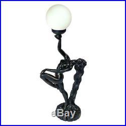 Art Deco Ebony Nude Female Silhouette Lamp Illuminated Globe Sculpture