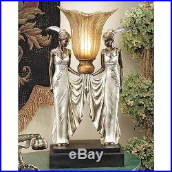 Art Deco Elegant Tabletop Torchiere Peacock Maidens Lamp Illuminated Sculpture